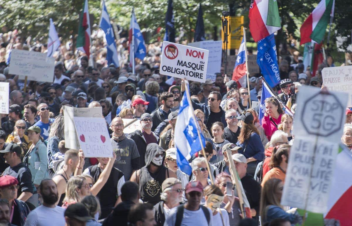Manifestation à Montréal contre les mesures sanitaires