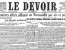 La une du Devoir du 7 juin 1944