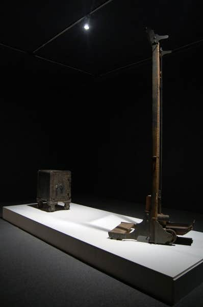 Maskull Lasserre:Mechanical Equation for Determining Meaning given,Mass and Velocity,2011, guillotine civière,71.1 x 45.7 x 228.6 cm