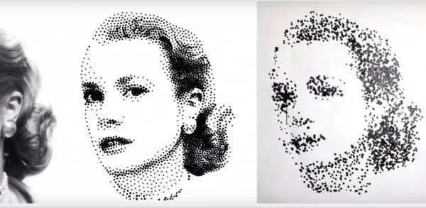 Les robots miniatures — si petits qu'ils tiennent dans la paume d'une main — ont déjà produit des dizaines de portraits. Autant de dessins constitués de centaines, voire de milliers, de points de peinture noire de différentes tailles.