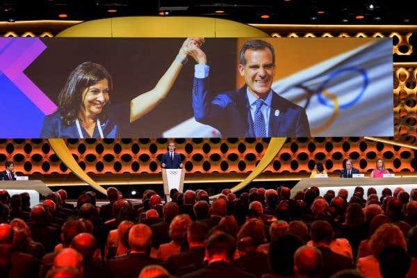 La mairesse de Paris, Anne Hidalgo, et le maire de Los Angeles, Eric Garcetti.