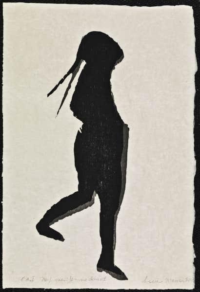 De la série Neuf vues: Femme debout (2003), de Louise Masson, bois gravé. Collection de BAnQ.