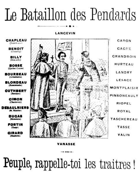 L'idée du brûlot de la Société Saint-Jean-Baptiste de Montréal s'inspirait de ce placard paru dans L'Électeur en mars 1886, qui publia la liste des 23 députés francophones du Québec qui ne s'étaient pas opposés à la décision du gouvernement de pendre Louis Riel. Tiré de L'Esprit révolutionnaire dans l'art québécois, Robert-Lionel Séguin, Montréal, Parti pris, 1972.