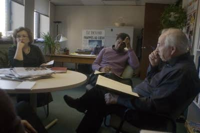 Réunion éditoriale avec Dany Laferrière (ainsi que Josée Boileau et Bernard Descôteaux)