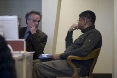 Serge Truffaut et Stanley Péan en pleine discussion