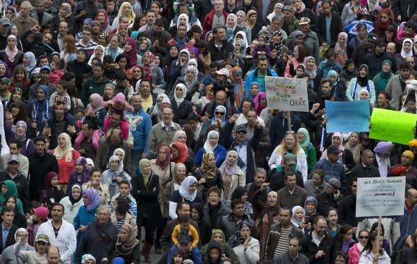 Manifestation d'opposition au projet de Charte des valeurs québécoises (septembre 2013).
