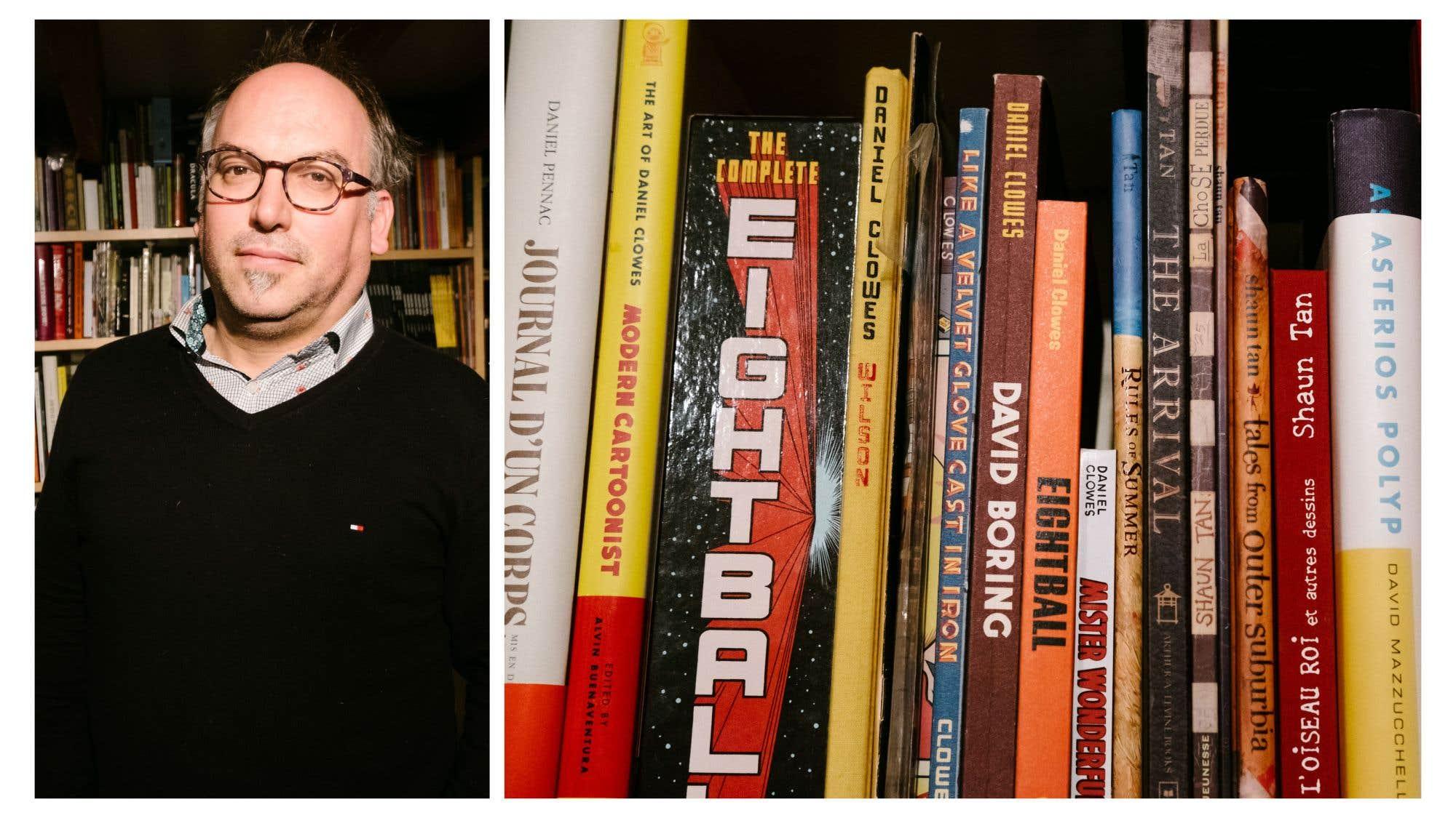 La bibliothèque d'Antoine Tanguay, timonier en chef aux éditions Alto, est sise dans le sous-sol de sa résidence. «C'est le foutoir, précise-t-il. Au dernier décompte, jamais terminé par lassitude et manque de temps, j'avais environ 4000 livres», essentiellement des livres d'images (photo, art, BD), des romans, et «quelques trucs inclassables. J'ai pas mal élagué ma biblio au fil des ans; je ne garde que les livres qui ont une histoire». Le premier bouquin qu'il se souvient avoir conservé est La tour (Casterman), bande dessinée de Schuiten et Peeters, offert par ses parents. Sa plus récente acquisition est la monographie sur Chris Ware par Françoise Mouly (Rizzoli).