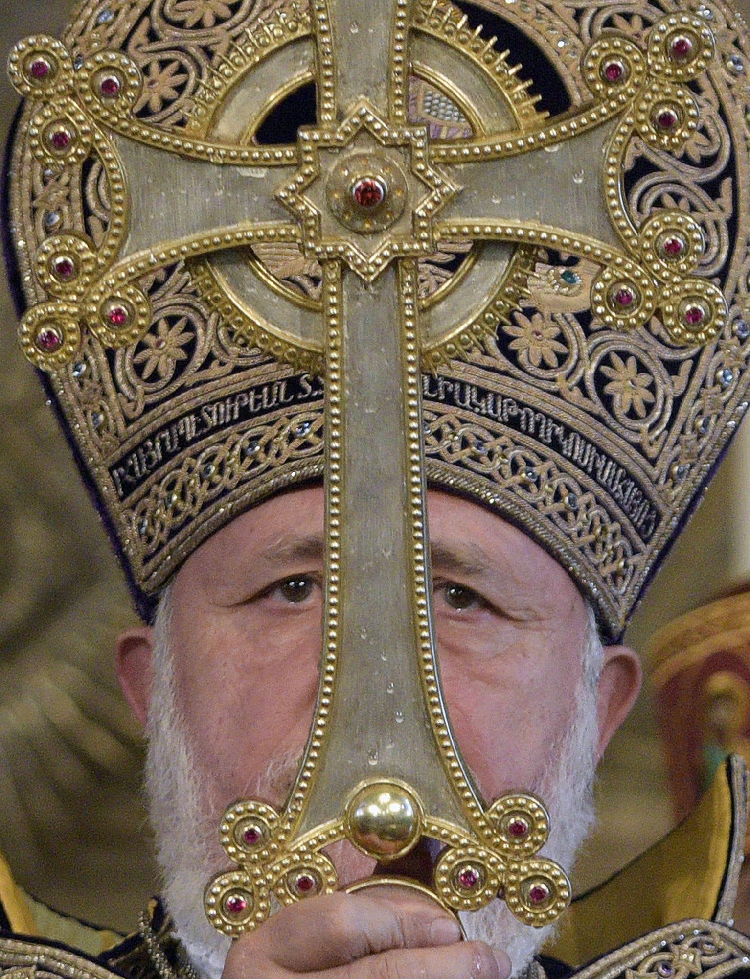 Karekine II, le Catholicos de tous les Arméniens, le plus haut patriarche de l'Église apostolique arménienne,célèbre une messe à la veille du Noël orthodoxe.
