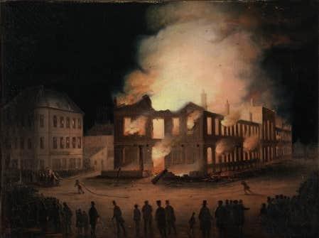 L&rsquo;incendie du parlement du Canada-Uni &agrave; Montr&eacute;al, le 25 avril 1849.<br />