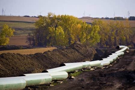 Un tron&ccedil;on du Keystone XL en construction dans le Dakota du Nord.<br />