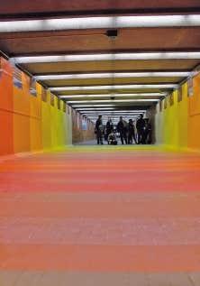 L&rsquo;&oelig;uvre de Flora Moscovici dans un couloir de la station de m&eacute;tro Bonaventure.<br />