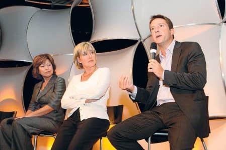 C&eacute;line Galipeau, Pascale Nadeau et Patrice Roy, photographi&eacute;s en 2009 lors du lancement de la programmation de Radio-Canada.<br />