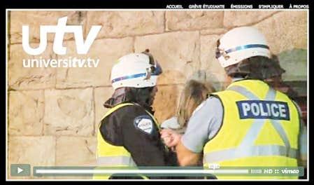 Une intervention musclée filmée par le vidéaste d'universitytv.tv dans la nuit du 22 mai à Montréal