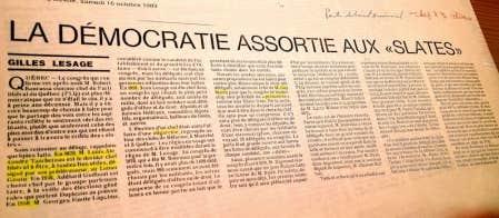 Un texte de Gilles Lesage, dans Le Devoir du 15 octobre 1983.<br />