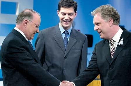 En 2003, Bernard Landry (PQ), Mario Dumont (ADQ) et Jean Charest (PLQ) s'affrontaient au cours d'un débat télévisé.