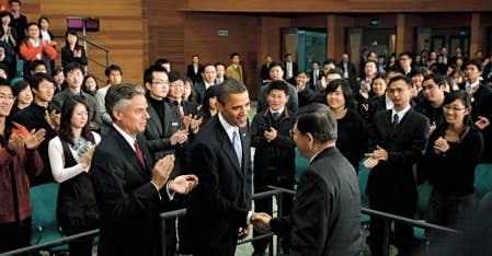 Le président Barack Obama a rencontré hier des étudiants à Shanghai