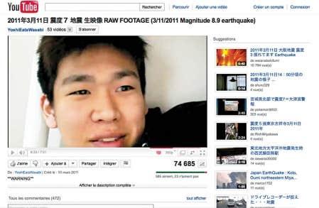 &Agrave; Tokyo, le jeune Yoshi a mis en ligne sur YouTube des images de lui dans son appartement capt&eacute;es pendant le s&eacute;isme.<br />