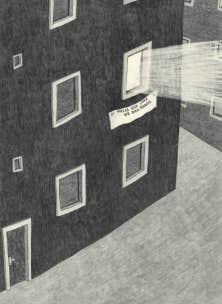O&ugrave; Dieu habite, &oelig;uvre de Werner Reiterer, consiste en une projection de lumi&egrave;re qui sera visible de l&rsquo;ext&eacute;rieur de l&rsquo;ancienne &Eacute;cole des beaux-arts. On en voit ici un dessin pr&eacute;paratoire.<br />