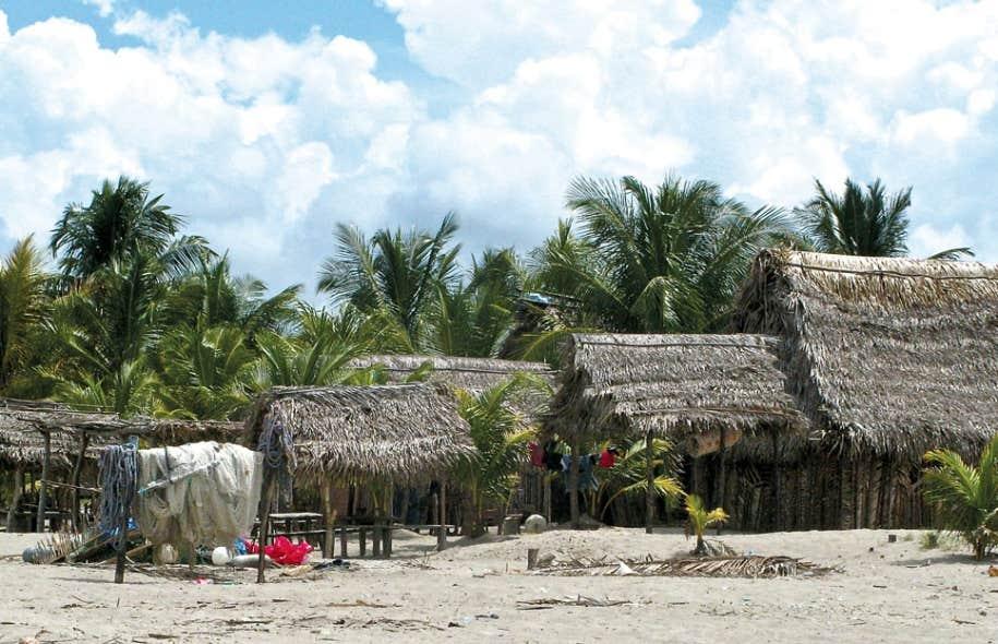 De petites huttes traditionnelles sur la plage du village garifuna de Tornabe, à proximité de Tela.
