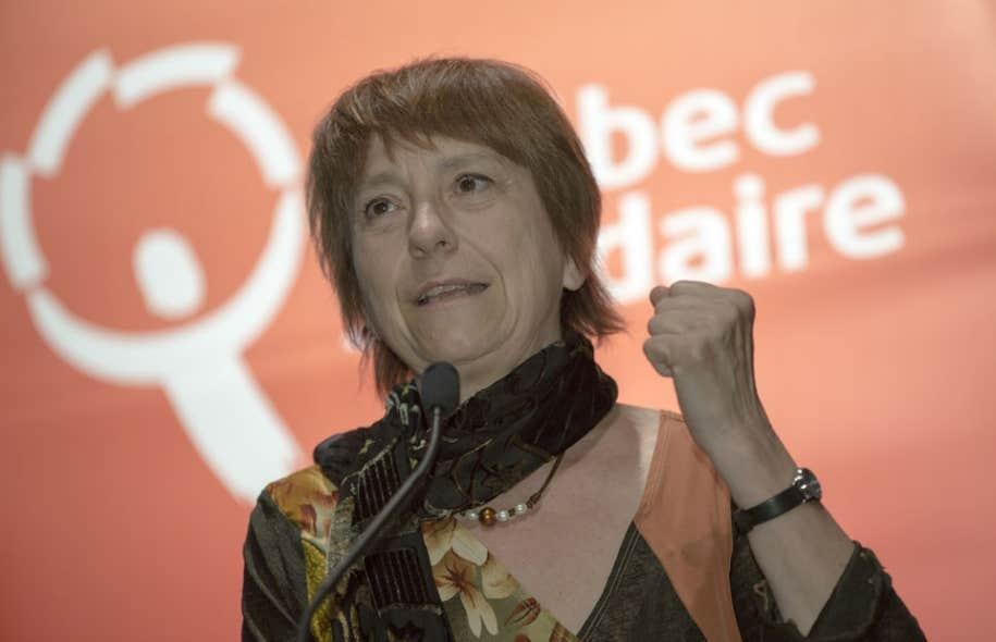 Françoise David s'est adressée aux militants en ouverture du congrès de Québec solidaire vendredi.