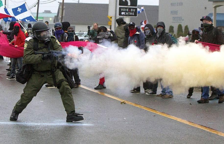 Une manifestation en marge du congrès du Parti libéral avait mal tourné en mai2012.