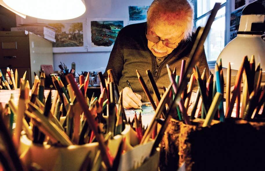 Frédéric Back à l'œuvre dans son atelier de Montréal en mai2012. L'illustrateur, cinéaste et militant écologiste a été emporté par un cancer le 24décembre à l'âge de 89 ans. C'est avec le film Tout-rien, «une allégorie de la création du monde», qu'il met au point le procédé aux crayons Prismacolor sur acétate dépoli «qui permet des nuances de couleur extrêmement riches et une exécution rapide».