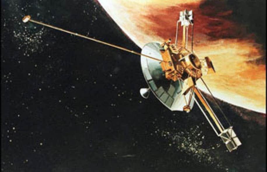Représentation graphique fournie par la NASA de la sonde Pioneer10 frôlant la planète Jupiter.