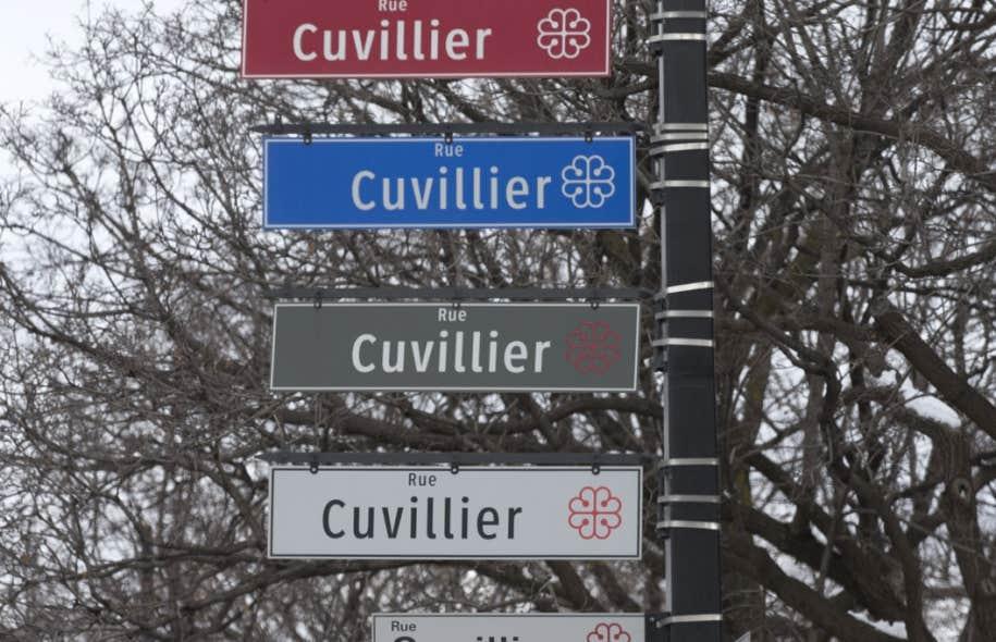 Pas moins de cinq plaques indiquent l'intersection des rues Sherbrooke et Cuvillier, dans Hochelaga-Maisonneuve.