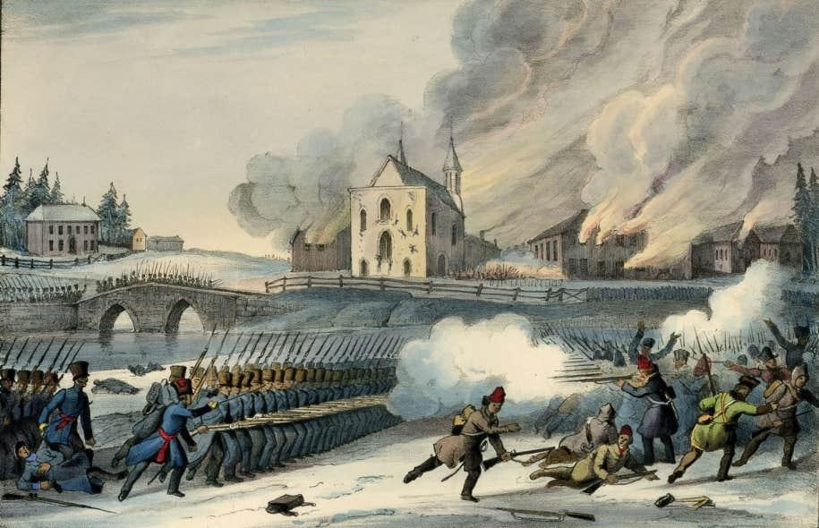 Bataille de Saint-Eustache, 14 décembre 1837, lors de la rébellion des Patriotes. Encre et aquarelle sur papier, lithographie, 1840.