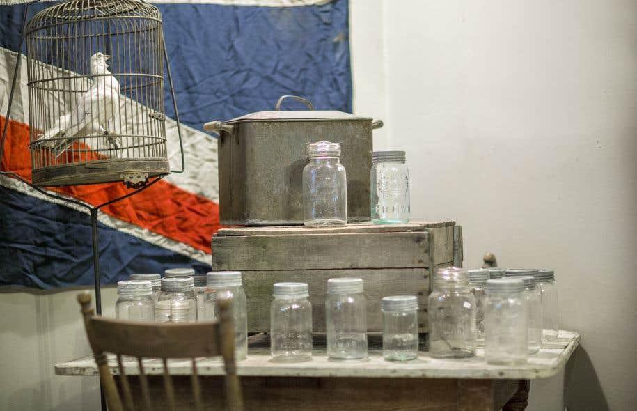 Une collection de pots &agrave; la boutique R&eacute;trocit&eacute; de Montr&eacute;al.<br />