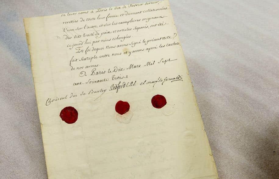 Le traité de Paris est exposé au Musée de la civilisaiton, à Québec, jusqu'au 2 octobre.