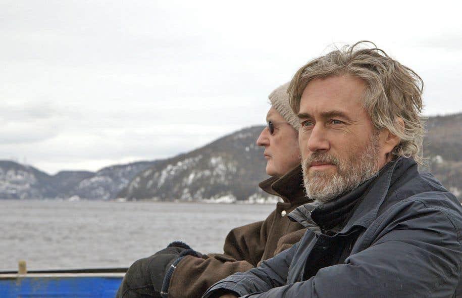Roy Dupuis, en compagnie de l'historien Denys Delâge