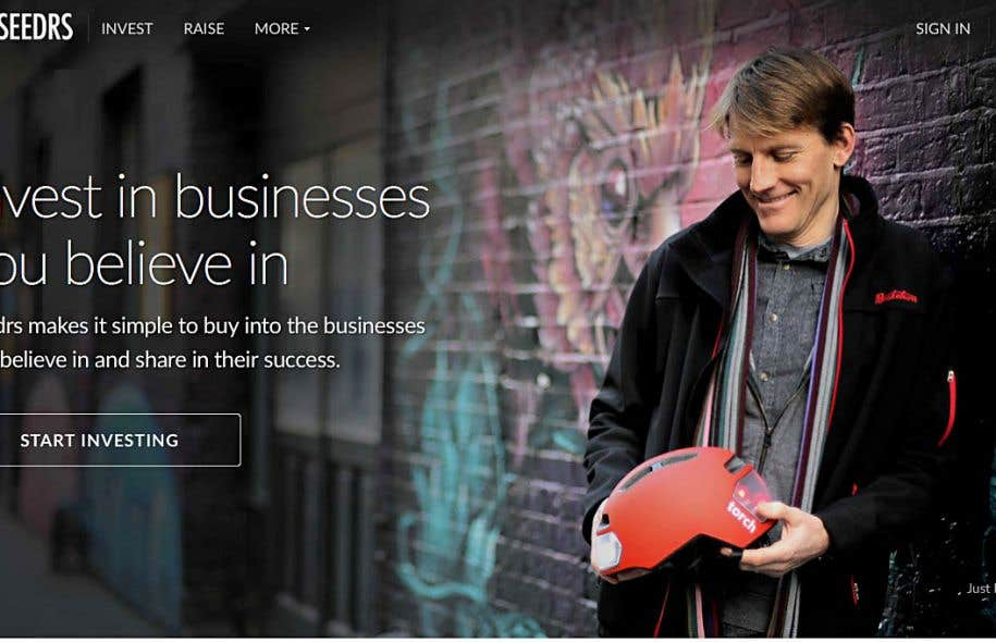 La page d'accueil du site britannique de sociofinancement d'entreprises SEEDRS