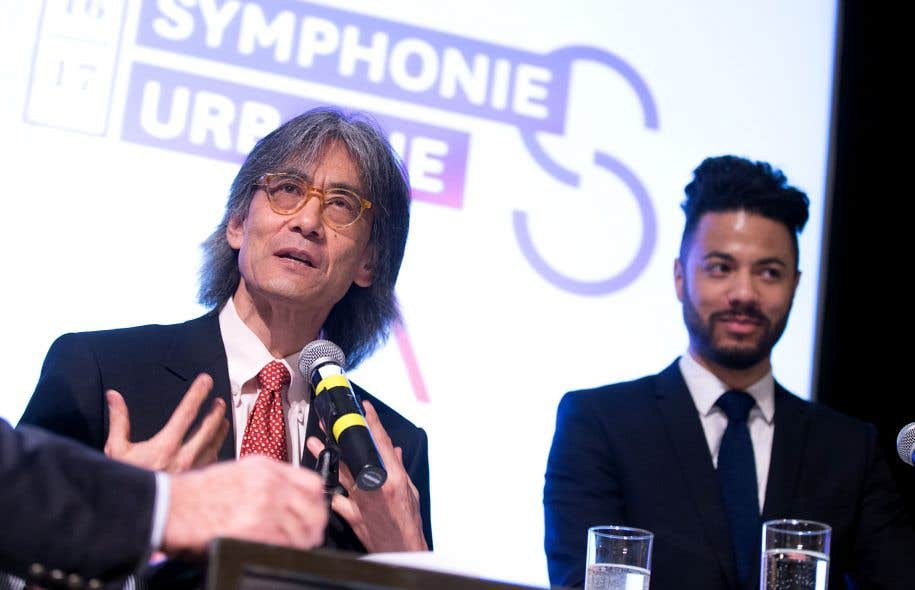 Kent Nagano et le compositeur Samy Moussa lors de la conférence de presse de la présentation de la prochaine saison de l'OSM