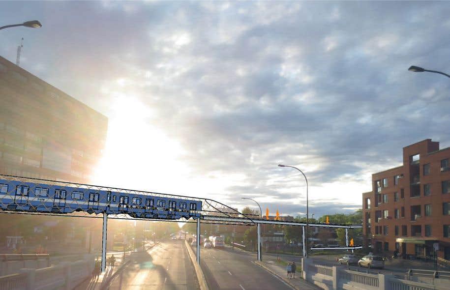 La «Passerelle des possibles» mettrait à profit des voitures de métro MR-63. La nouvelle structure aurait l'avantage de relier directement le pôle d'emploi du Mile-End au métro Rosemont.