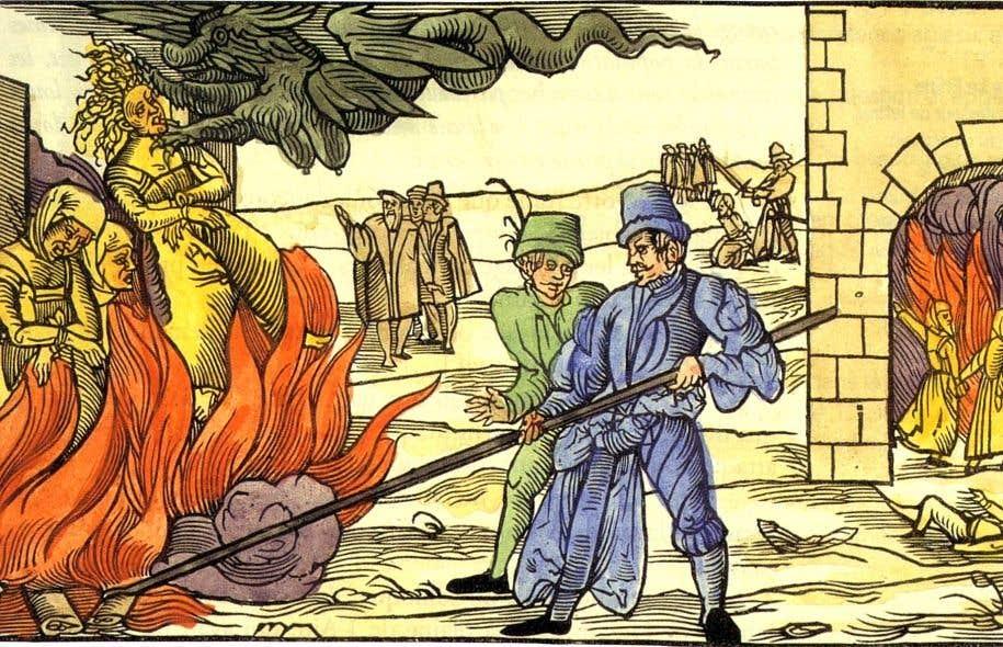 Une gravure ancienne montrant les techniques d'extermination préconisées par l'Inquisition au Moyen Âge. Il est difficile d'établir avec certitude le nombre de femmes qui ont péri par le feu entre le XIVe et le XVe siècle.