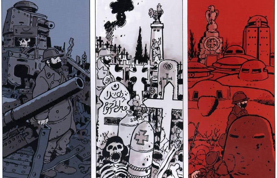 Extrait d'une planche de la nouvelle bande dessinée de l'auteur et illustrateur français Jacques Tardi. Le prolifique bédéiste met un point final à la vaste enquête qu'il mène depuis des années sur la Première Guerre mondiale.