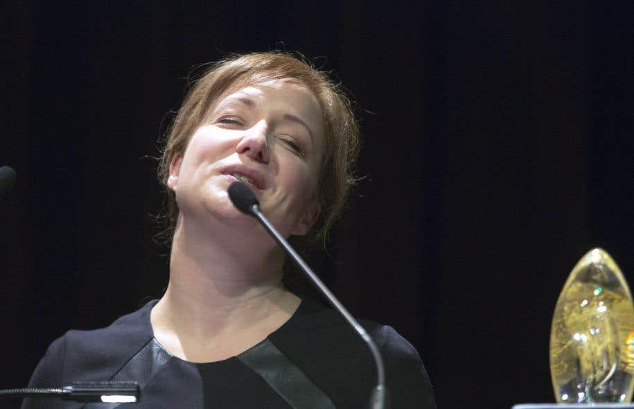 Julie Boulianne lors de la réception de son prix