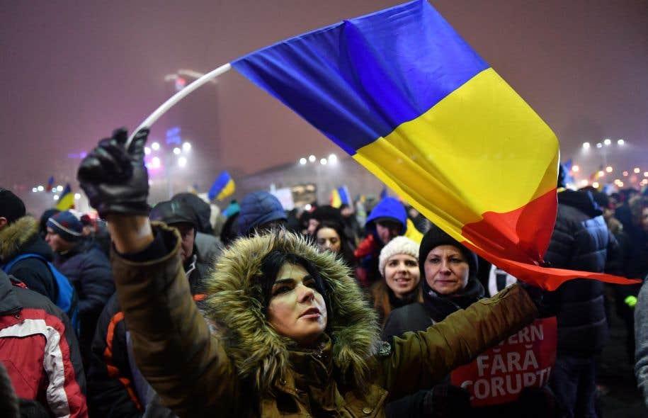 Une manifestation contre le gouvernement à Bucarest le 6 février 2017