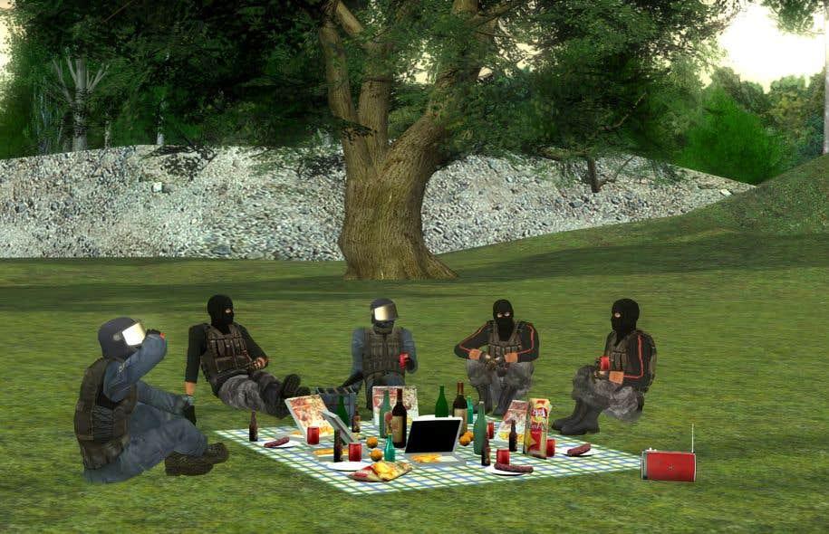 L'artiste français Benjamin Nuel étonne avec sa vidéo «Hôtel»: une maison de retraite pour terroristes et policiers, une sorte de satire des jeux vidéo.