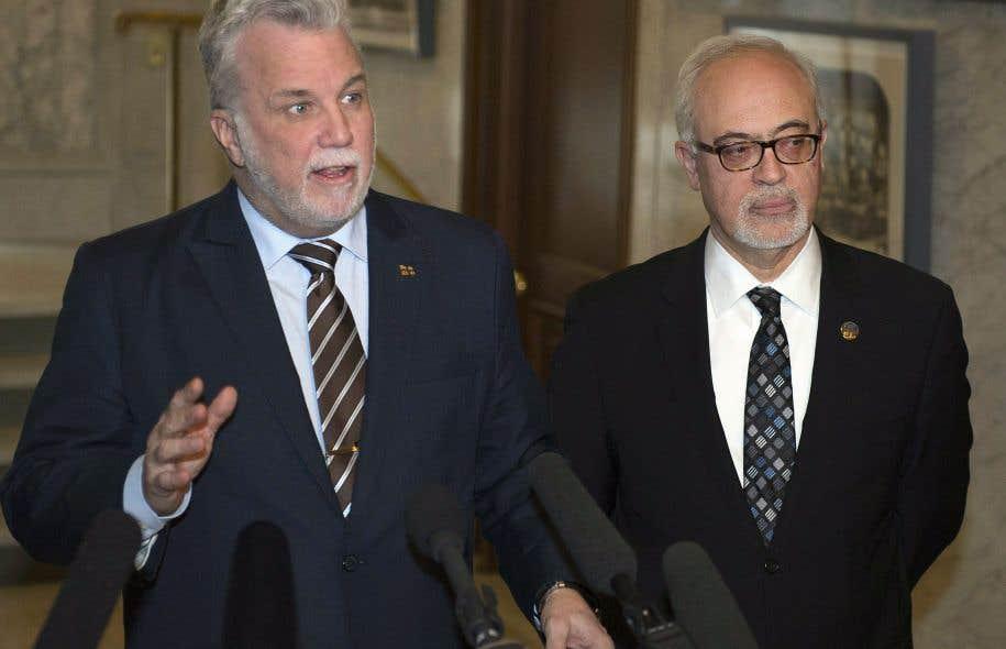 Philippe Couillard et Carlos Leitão à l'Assemblée nationale mardi