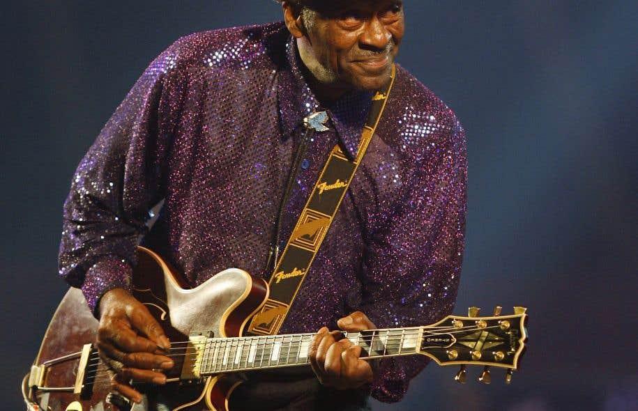 La légende du rock'n'roll, le chanteur et guitariste Chuck Berry, lors de sa performance à Burgos, en Espagne, en 2017