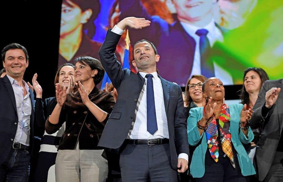 Benoît Hamon a essayé de donner un nouvel élan à sa campagne lors d'un meeting à Paris, dimanche.