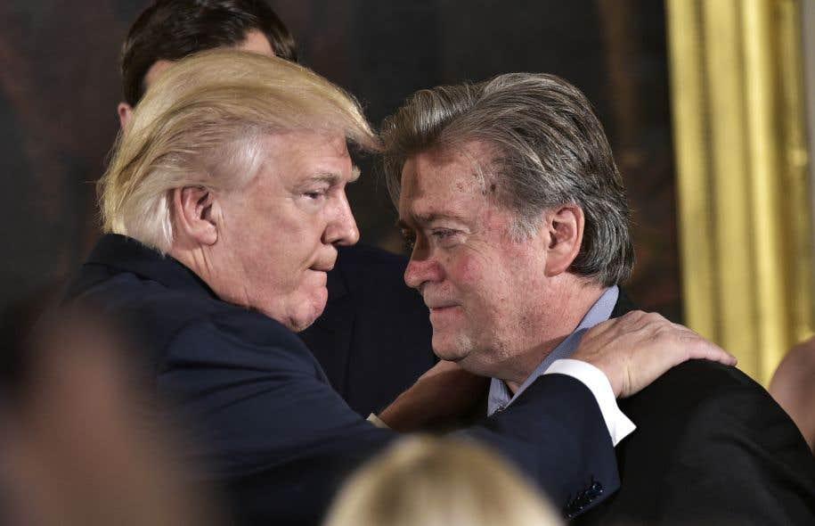 <p>Stephen Bannon <em>«est un gars bien, mais je leur ai dit </em>[à mon entourage]<em>de le recadrer ou c'est moi qui le ferai»</em>, a affirmé le président américain.</p>