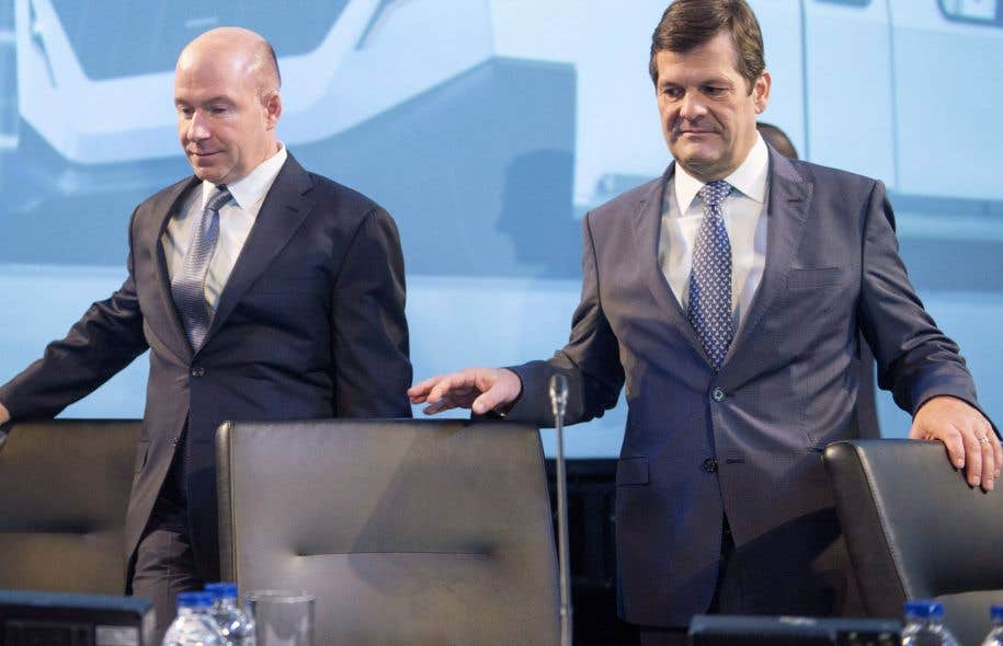 Le président et directeur général de Bombardier, Alain Bellemare, et le président du conseil d'administration de l'entreprise, Pierre Beaudoin