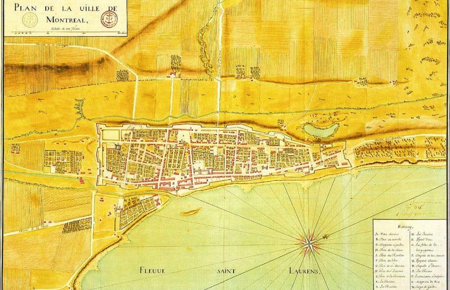 Plan de la ville de Montréal en 1725 réalisé par Gaspard-Joseph Chaussegros de Léry