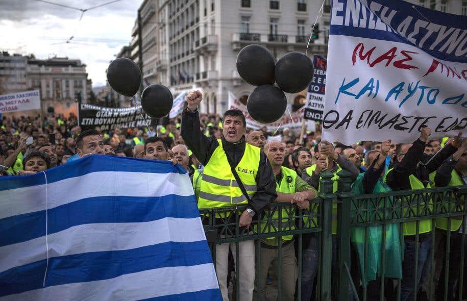 De nombreux syndicats grecs, dont celui des policiers qui a mené un coup d'éclat lors de la manifestation, mercredi, mettent en cause le gouvernement d'Alexis Tsipras pour la mise en place de politiques de rigueur.
