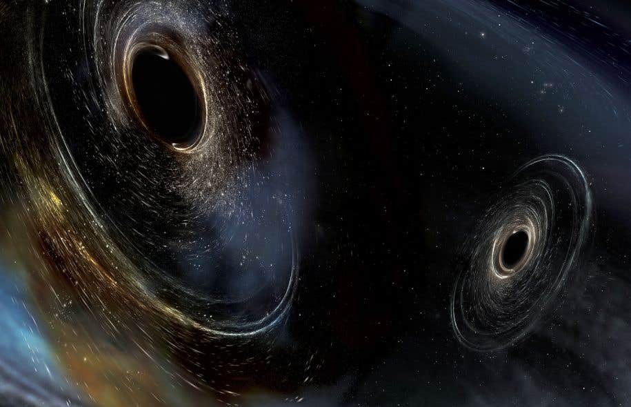 En plus de tourner l'un autour de l'autre, les deux trous noirs effectuaient aussi des rotations autour de leur propre axe.