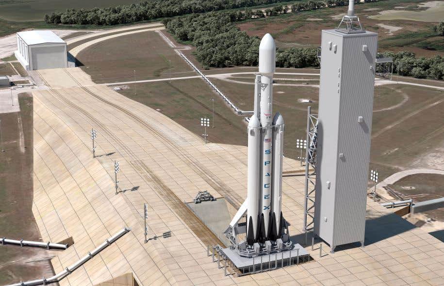 Modélisation de la fusée «Falcon Heavy» sur son pas de tir