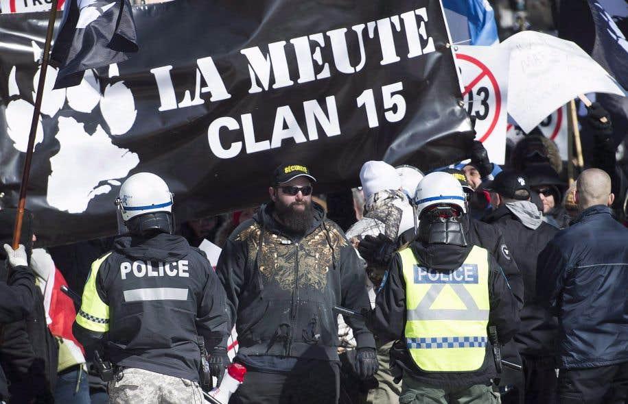 Des membres du groupe La Meute ont manifesté à Montréal en mars dernier.